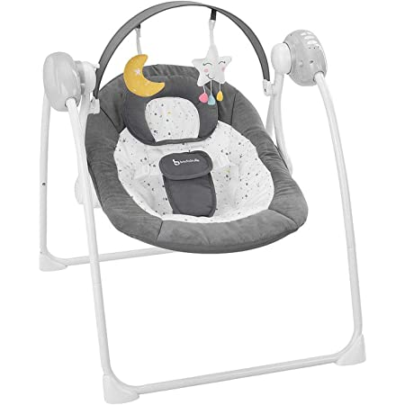 Timer und 8 Melodien Badabulle Komfort-Moonlight elektrische Babywippe und Babyschaukel mit 3 Schaukelgeschwindigkeiten