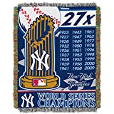 MLB New York Yankees Commemorative Woven Tapestry Throw Blanket, 48' x 60'