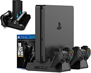Kootek Vertical Stand for PS4 Slim / PS4 Pro / Regular PS4 Controller Charger with 3 Cooling Fan Games Storage, EXT Dual Charging Station for PlayStation 4 Console Dualshock 4 Controller Accessories