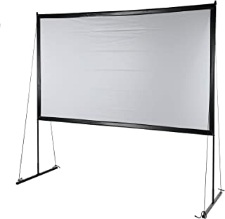 Projectiescherm met standaard, 100 inch / 120 inch 16: 9 compleet projectorscherm voor projectie, met zwarte standaard voo...