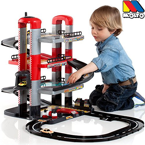 Parkgarage mit Spielstraße auf 4 Ebenen mit Aufzug, 2 Autos: Auto Spielzeug Garage, Spielstrasse, Spielzeugauto ,Parkhaus ist aus hochwertigem Kunststoff gefertigt und lässt sich sehr leicht aufbauen.