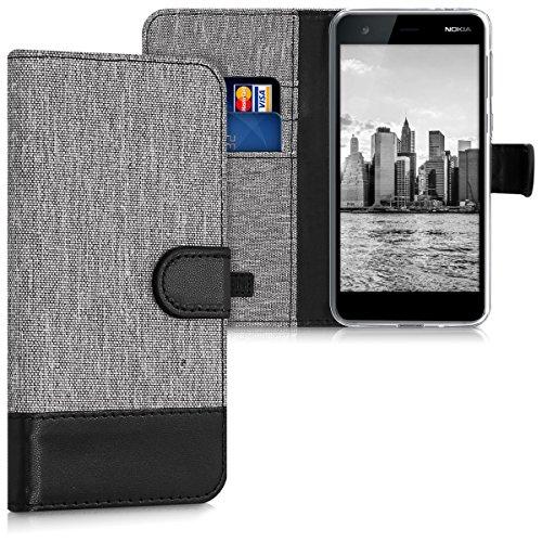 kwmobile Nokia 2 Custodia Portafoglio - Cover Porta Carte Tessuto Simil Pelle Stand per Nokia 2 - Case Magnetica