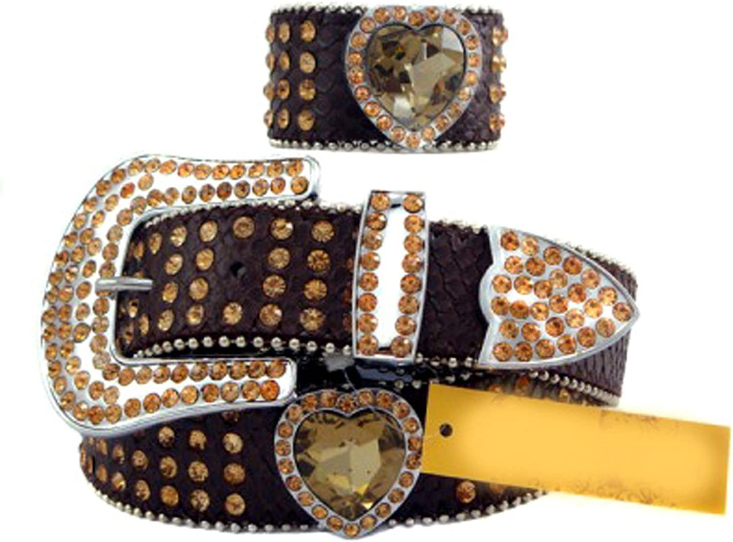 Chocolate Brown Leather Belt in a Crocodile Pattern, Decorated in High Quality Yellow Crystals, Size S M