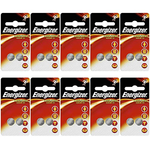 Energizer A76 LR44 AG13 Alkaline Button Cell Batteries - 20 Pack