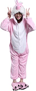 Pink Bunny Fancy Dress Costumes Jumpsuit Kigurumi Playsuit Outfits