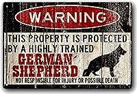 警告 この物件は、高度な訓練を受けたジャーマン シェパードによって保護されています ビンテージ スタイル メタル サイン アイアン ペインティング 屋内 & アウトドア ホーム バー コーヒー キッチン 壁の装飾 8 x 12 インチ