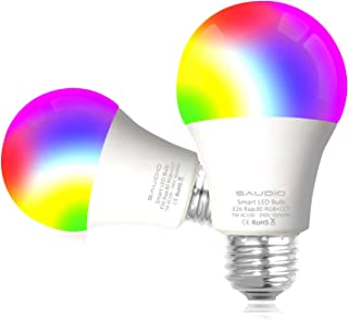 Smart WiFi Alexa Light Bulbs, SAUDIO LED RGB Color Changing Bulbs, Compatible with Siri,Alexa,IFTTT and Google Home Assistant, No Hub Required, A19 E26 Multicolor 2 Pack