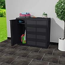 MOUYOU Waterproof Outdoor High Wardrobe 97 x 38 x 87 cm Garden Cabinet with 3 Doors and 2 Adjustable Ventilated Shelves, P...