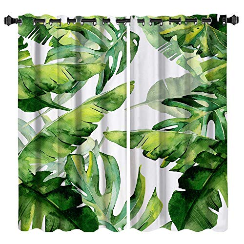 VividHome Green Palm Leaf Curtains Tropical Leaves Botanical Pattern Print Blackout Curtains Fresh Country Style 2 Panel Set Window Curtains Living Room Bedroom Kitchen Decor