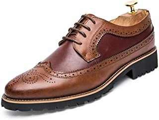 AiHua Huang Oxford Shoes for Men Brogue Shoes Lace Up Style Microfiber Leather Retro Casual Classic Engraved Splicing Shoes (Color : Brown Red, Size : 5.5 UK)