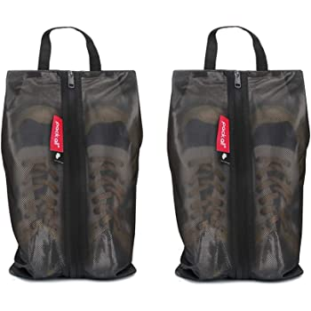 pack all Water Resistant Shoe Bags for Travel, Storage Organizer Pouch with Zipper, Multi-Color for Men Women (2 Pack Black)