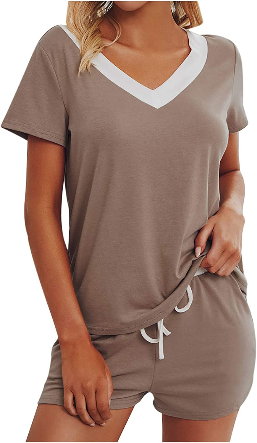 MULINN Solid Color Tracksuit for Women V Neck Shirts Drawstring Shorts Sets Summer Leisure Lounge Wear Sleepwear Suit Sexy