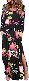 Spring Colorღ Women's Casual Floral Printed Loose Plain O Neck Side Slit Long Maxi Dress with Pockets