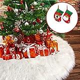 IPPON Large Christmas Tree Skirt, 60 Inch White Faux Fur Christmas Tree Skirt with 2 Chris...