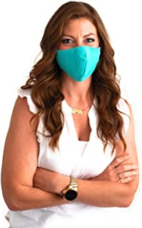 Adult 100% Cotton Face Mask 2 Pack Washable Reusable 3 Layers Handmade Mouth & Face Cover Protection Unisex Color Aqua