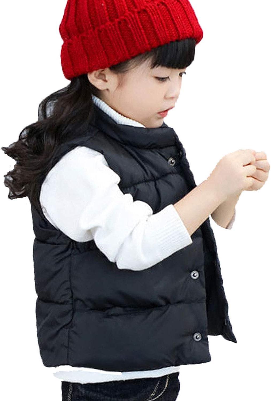 LANBAOSI Baby Girls&Boys Winter Cute High Neck Vest Lightweight Puffer Sleeveless Jacket: Clothing
