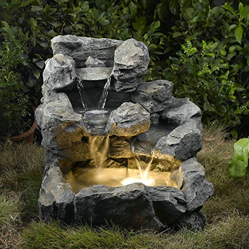 """23"""" Led Lighted Rustic Stacked and Staggered Stone Outdoor Patio Garden Water Fountain"""