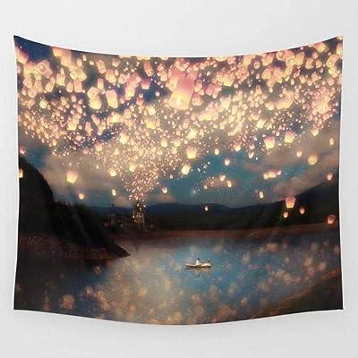 100x75 cm 39x29 inch Nunbee Poliestere Hippie Arazzo Decorativi Mandala Bohemian Psichedelico Intricato Indiano Copriletto Camera da Dormitorio Letto Arredamento Lanterne del Cielo