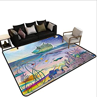 Navy Area Rug Rugs Large Floor Mat Ancient Underwater with Octopus and Castle Pirate Ship Coral Reefs Fantasy Art Print Print for Living Playing Dorm Room Bedroom Multicolor