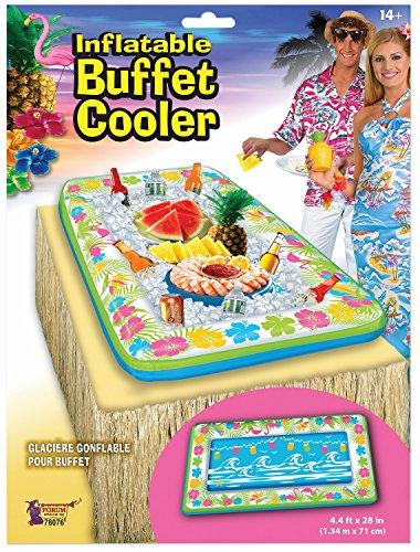 Inflatable Tropical Luau Serving Bar Salad Ice Tray Food Container Buffet Cooler Party Supplies BBQ Picnic Summer Pool Party Outdoor Supplies, Flower Design Multi-Color, 53'x28'