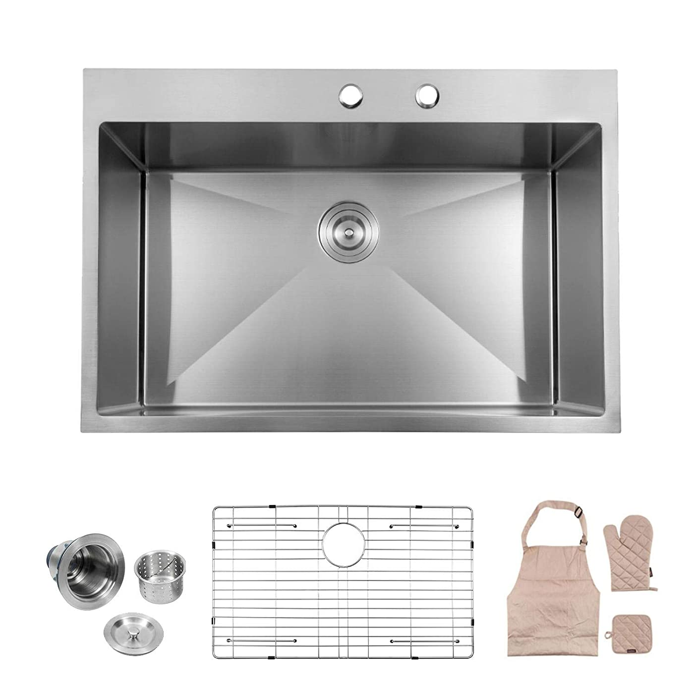 Lordear LT3322R1 33 x 22x 10 Inch Drop-in Topmount 16 Gauge R10 Tight Radius Stainless Steel Kitchen Sink Single Bowl