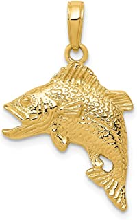 Black Bow Jewelry 14k Yellow Gold Textured Jumping Bass Fish Pendant