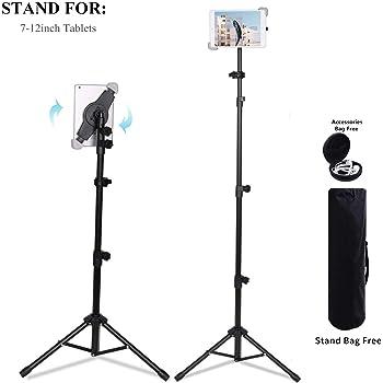 Support de trépied universel portable hauteur réglable de 21 à 65 pouces support de montage pour et autres tablettes de 7-12 pouces avec sac de transport