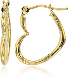 14K Yellow Gold Hearts Hoop Earrings with Hinged Clasp | Heart, Sideways Heart, Shrimp Heart and Triple graduated Heart| Solid Gold Earrings for Women and Girls