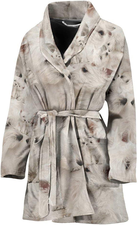 Deruj Cute Westie in Lots Print Women's Bath Robe