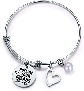 Jvvsci Follow your dreams Bracelet Motivational Bangle Inspirational Jewelry Uplifting Gift For Her Best Friends Sisters Gift
