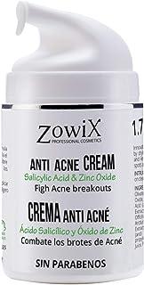 ZOWIX Crema anti acne. Elimina espinillas y granos. Tratamiento facial antiacné natural y efectivo con A. Salicílico y Oxi...