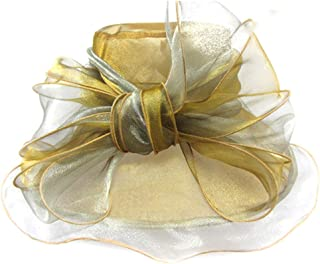Women's Organza Fascinator Hat, Church Tea Party Bridal Wedding Cap,Gold