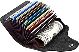 Genuine Leather Snap Wallet Small Credit Card Money Holder Cases Purse Women Men