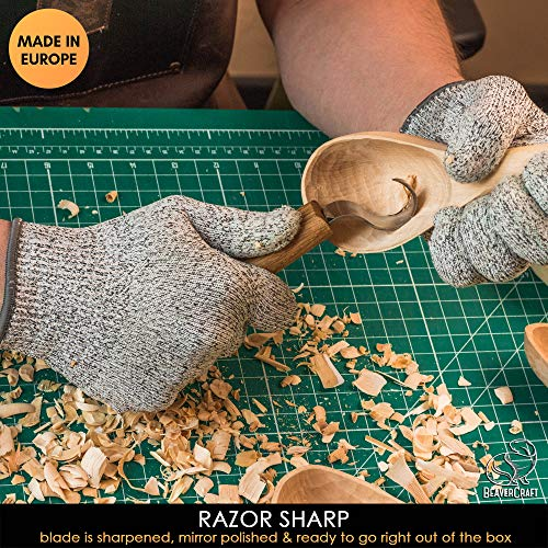 Wood Carving Hook Knife for Carving Spoons kuksa Bowls and Cups - Spoon Carving Tools - Basic Crooked Knife for Professional Spoon Carvers and Beginners (Right-Handed Hook Knife SK1N)