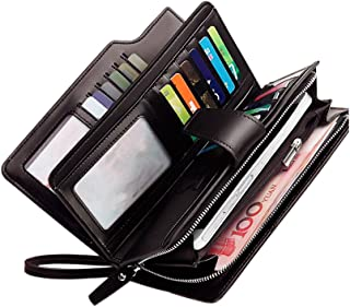 Rfid women's wallets ladies Leather Wristlet organizer with phone slot large capacity