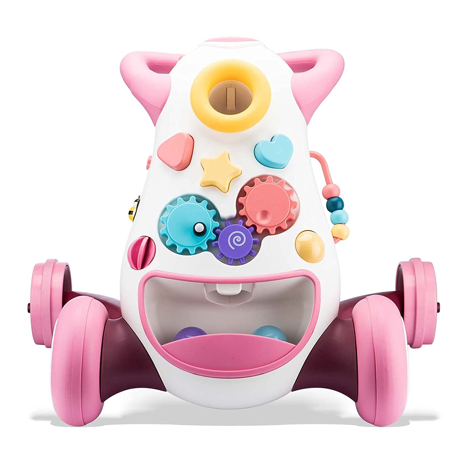 Tinone Baby Toddler Infant Walker,Sit to Stand Toys,Musical Fun Activity Center with Light,Cute Push Cars,First Birthday Gift for 10+ Month,1 Year Old Boy Girl (Pink)