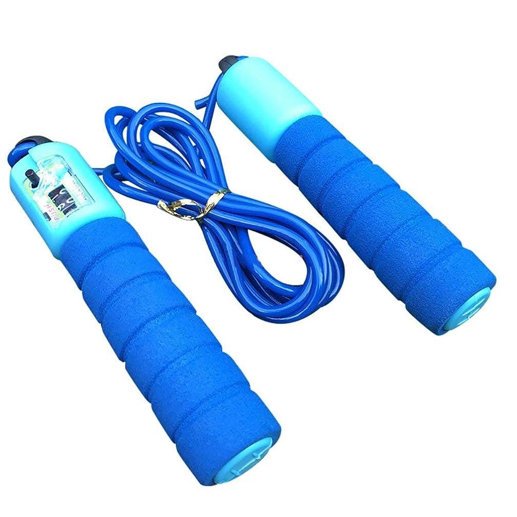 明るい腹部意図する調整可能なプロフェッショナルカウント縄跳び自動カウントジャンプロープフィットネス運動高速カウントジャンプロープ - 青