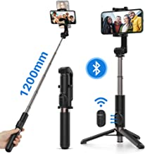 Yoozon Palo Sefie Trípode, Selfie Stick Bluetooth 1.2m Extensible para autofoto, Video, transmisión, Palo Largo Ajustable y portátil con Control Remoto para teléfonos como iPhone, Samsung, Huawei etc