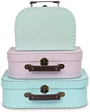 Jewelkeeper Paperboard Suitcases, Set of 3 – Nesting Storage Gift Boxes for Birthday Wedding Nursery Office Decoration Dis...