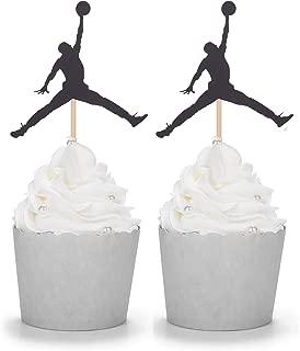 Set of 24 Black Jordan Basketball Cupcake Toppers Kids¡® Birthday Party Decorations