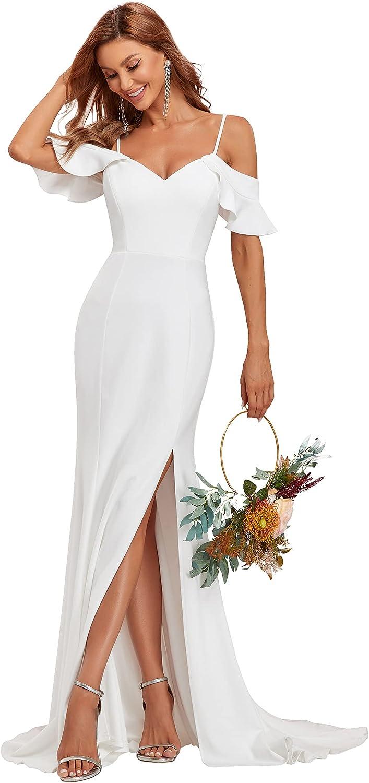 Ever-Pretty Women's Bodycon Spaghetti Straps Ruffle Sleeves Side Slit Maxi Wedding Dress for Bride 90314