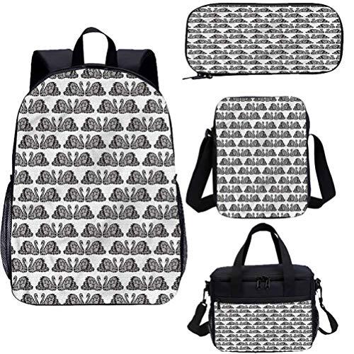 Swan 15 pulgadas mochila con bolsa de almuerzo conjunto de estuche, abstractas alas artísticas libreras 4 en 1
