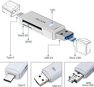TF/SD Card Reader, teczon Ultra Slim USB 3.0 SD/Micro SD Card Reader Adapter Micro USB OTG/USB C OTG Adapter for PC/Laptop...