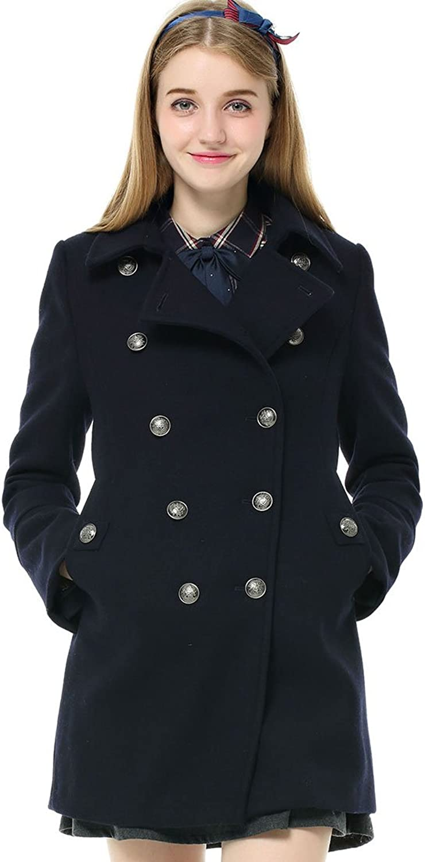 Etongenius Women Ladies Winter Wool Blend Double Breasted Parka Trench Coat Windbreaker Jacket Top Navy bluee