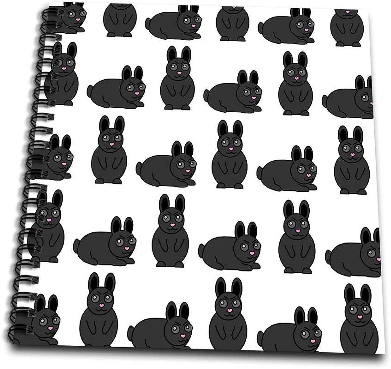 3dpink db_25326_1 Cute Black Little Rabbit Grumpy Bunny Print Drawing Book, 8 by 8