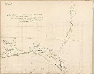 "18/"" x 24/"" 1815 Map Of Pensacola Bay To Saint Andrews Bay Spanish West Florida"