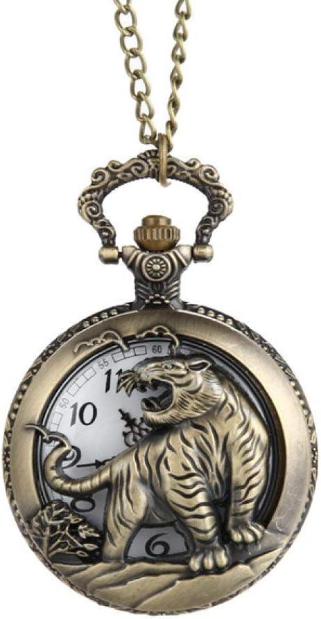NOBRAND Reloj de Bolsillo, Reloj de Bolsillo marrón para Hombre Vintage Tiger Hollow/Tallado Reloj de Bolsillo de Cuarzo Collar Colgante Zodiaco Chino Mujeres Hombres Regalo