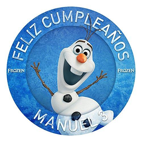 OBLEA de Papel de azúcar Personalizada, 19 cm, diseño de Olaf de Disney Frozen