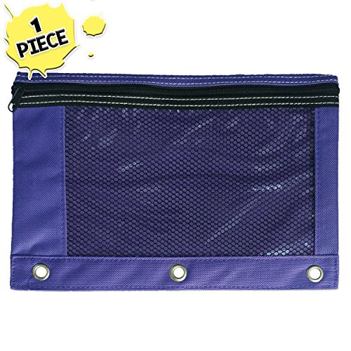 1 Purple Zippered Pencil Case by School Smarts - 3 Ring Purple Pencil Pouch with Mesh and plastic window. For Use in and Out of the Classroom.