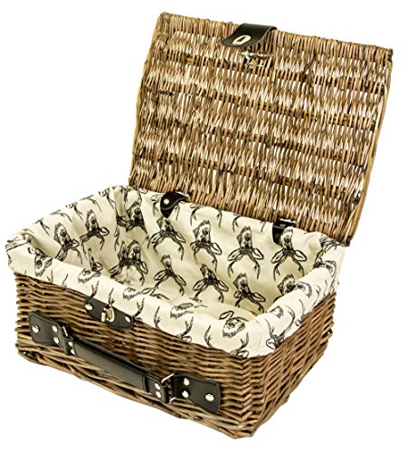 east2eden Antique Brown Wicker Lidded Hamper Basket with Leather Handle and Stag Lining (Set of 2 Small)
